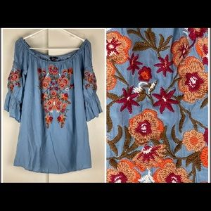 Andree by unit blue embroidered top